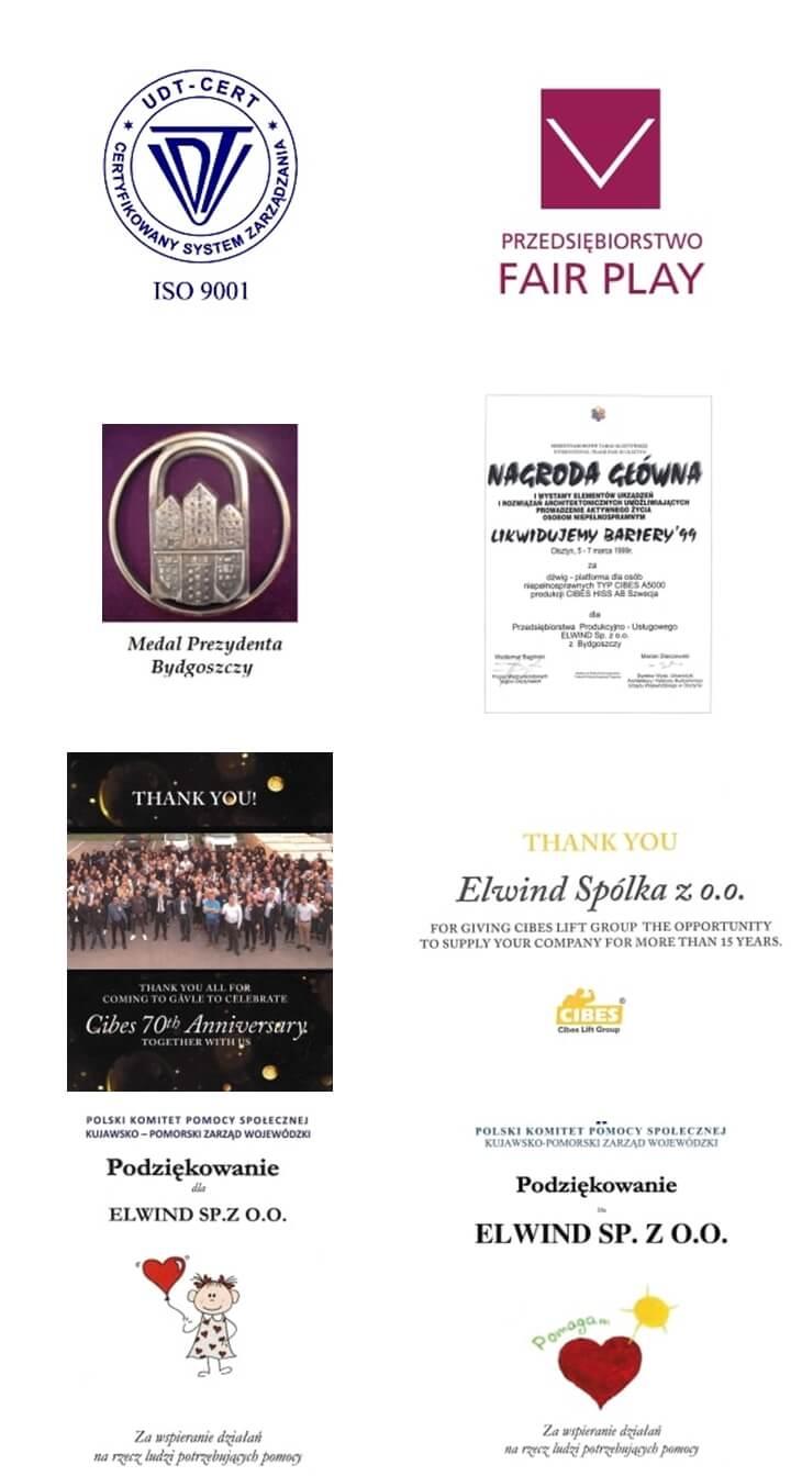 wyróżnienia i nagrody za nasze windy osobowe i dźwigi towarowe